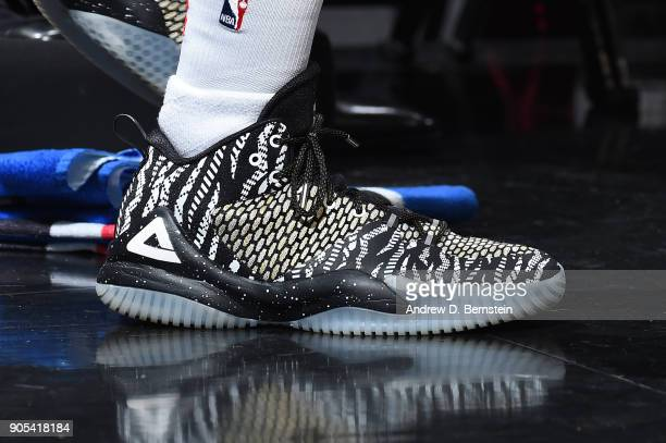 The sneakers of Lou Williams of the LA Clippers are seen before the game against the Houston Rockets on January 15 2018 at STAPLES Center in Los...
