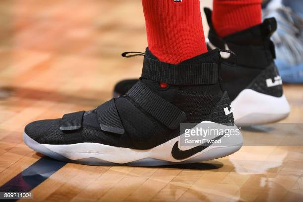 The sneakers of Lucas Nogueira of the Toronto Raptors are seen during the game against the Denver Nuggets on November 1 2017 at the Pepsi Center in...