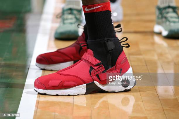 The sneakers of Lucas Nogueira of the Toronto Raptors during the game against the Milwaukee Bucks on January 5 2018 at the BMO Harris Bradley Center...
