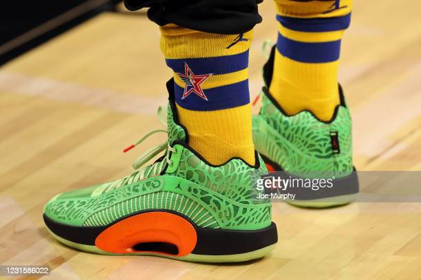 The sneakers of Luka Doncic of Team LeBron during the Taco Bell Skills Challenge as part of 2021 NBA All Star Weekend on March 7, 2021 at State Farm...