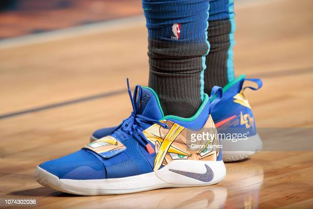 The sneakers of Luka Doncic of the Dallas Mavericks are worn during a game against the Sacramento Kings on December 16 2018 at the American Airlines...
