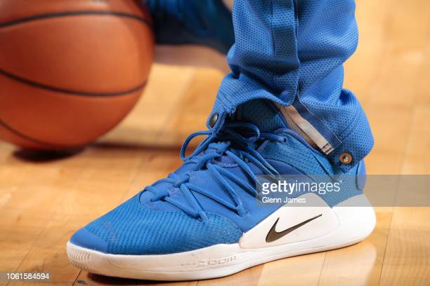 The sneakers of Luka Doncic of the Dallas Mavericks before the game against the Utah Jazz on November 14 2018 at the American Airlines Center in...