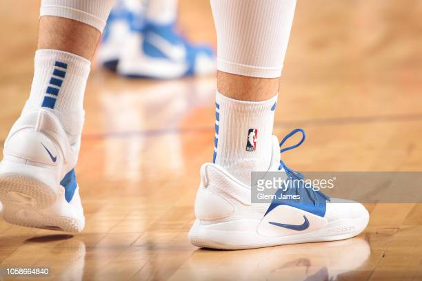 The sneakers of Luka Doncic of the Dallas Mavericks during the game against the Washington Wizards on October 6 2018 at the American Airlines Center...