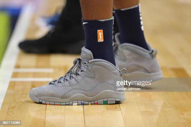 The sneakers of Lynetta Kizer of the Minnesota Lynx during game against the Dallas Wings on May 23 2018 at Target Center in Minneapolis Minnesota...