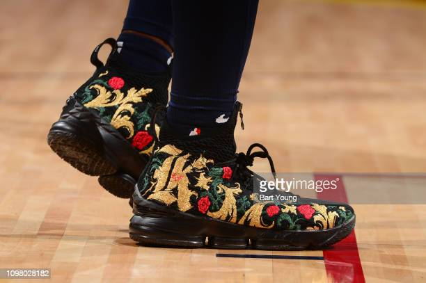 The sneakers of Malik Beasley of the Denver Nuggets are seen against the Miami Heat on February 11 2019 at the Pepsi Center in Denver Colorado NOTE...