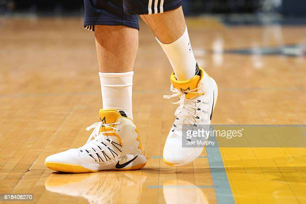 The sneakers of Marc Gasol of the Memphis Grizzlies are seen before a game against the Minnesota Timberwolves on October 26 2016 at FedExForum in...