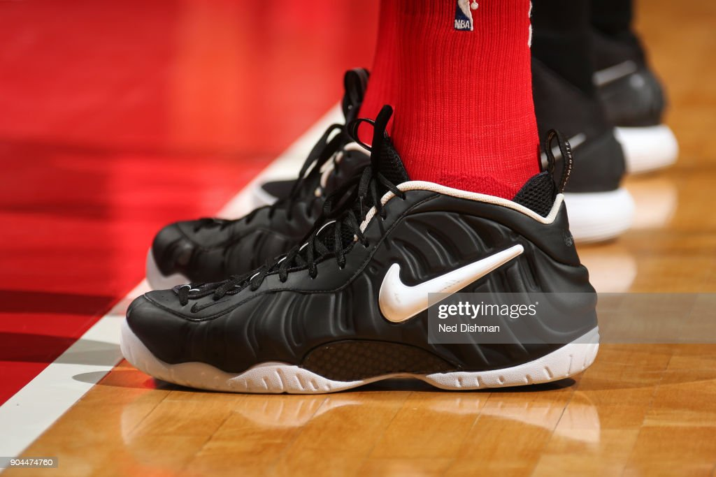 The sneakers of Marcin Gortat #13 of the Washington Wizards during the game against the Orlando Magic on January 12, 2018 at Capital One Arena in Washington, DC.