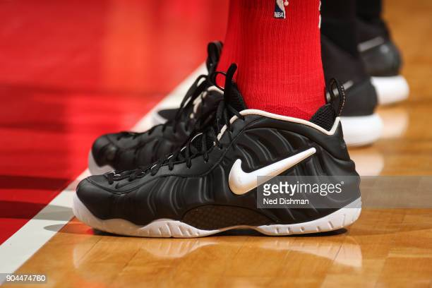 The sneakers of Marcin Gortat of the Washington Wizards during the game against the Orlando Magic on January 12 2018 at Capital One Arena in...