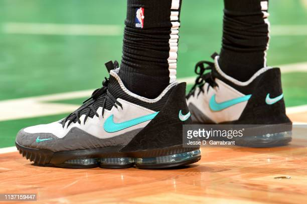 The sneakers of Marcus Morris of the Boston Celtics are seen against the Indiana Pacers during Game One of Round One of the 2019 NBA Playoffs on...