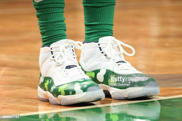 The sneakers of Marcus Morris of the Boston Celtics are seen during the game against the Washington Wizards on December 25 2017 at the TD Garden in...