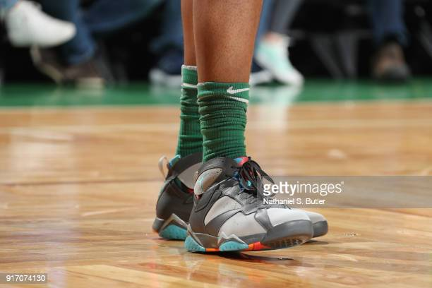 The sneakers of Marcus Morris of the Boston Celtics as seen during the game against the Cleveland Cavaliers on February 11 2018 at TD Garden in...