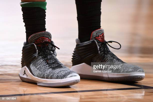 The sneakers of Marcus Morris of the Boston Celtics during the game against the Denver Nuggets on January 29 2018 at the Pepsi Center in Denver...