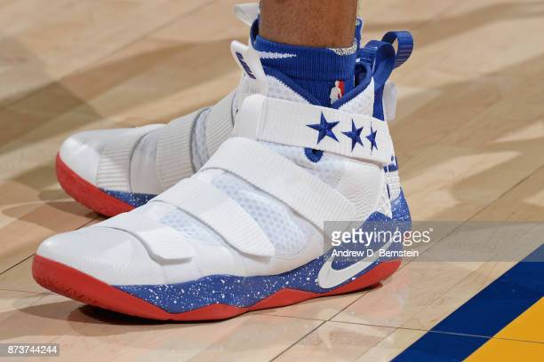 The sneakers of Markelle Fultz of the Philadelphia 76ers during the game against the Golden State Warriors on November 11 2017 at ORACLE Arena in...