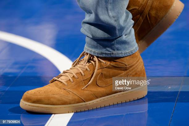 The sneakers of Markelle Fultz of the Philadelphia 76ers during the game against the New Orleans Pelicans at Wells Fargo Center on February 9 2018 in...
