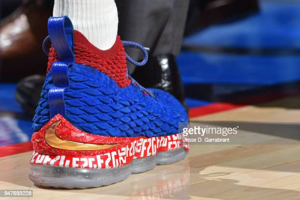 The sneakers of Markelle Fultz of the Philadelphia 76ers in Game Two of Round One of the 2018 NBA Playoffs against the Miami Heat on April 16 2018 in...