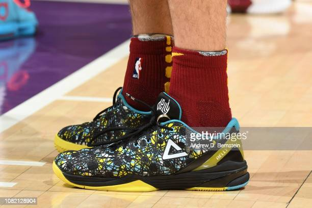 The sneakers of Matthew Dellavedova of the Cleveland Cavaliers are worn during a game against the Los Angeles Lakers on January 13 2019 at STAPLES...