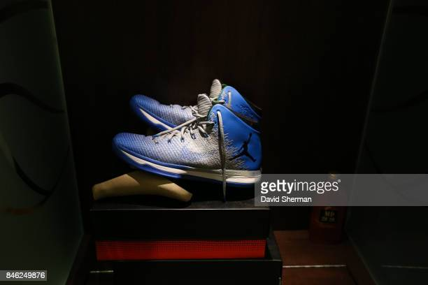 The sneakers of Maya Moore of the Minnesota Lynx are seen before the game against the Washington Mystics in Game One of the Semifinals during the...