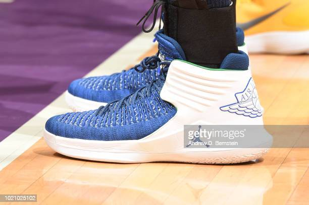 The sneakers of Maya Moore of the Minnesota Lynx are seen during the game against the Los Angeles Sparks in Round One of the 2018 WNBA Playoffs on...