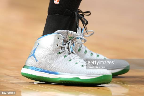 The sneakers of Maya Moore of the Minnesota Lynx are seen during the game against the New York Liberty on July 25 2017 at Target Center in...