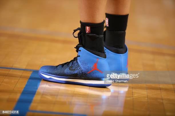 The sneakers of Maya Moore of the Minnesota Lynx are seen during the game against the Washington Mystics in Game One of the Semifinals during the...