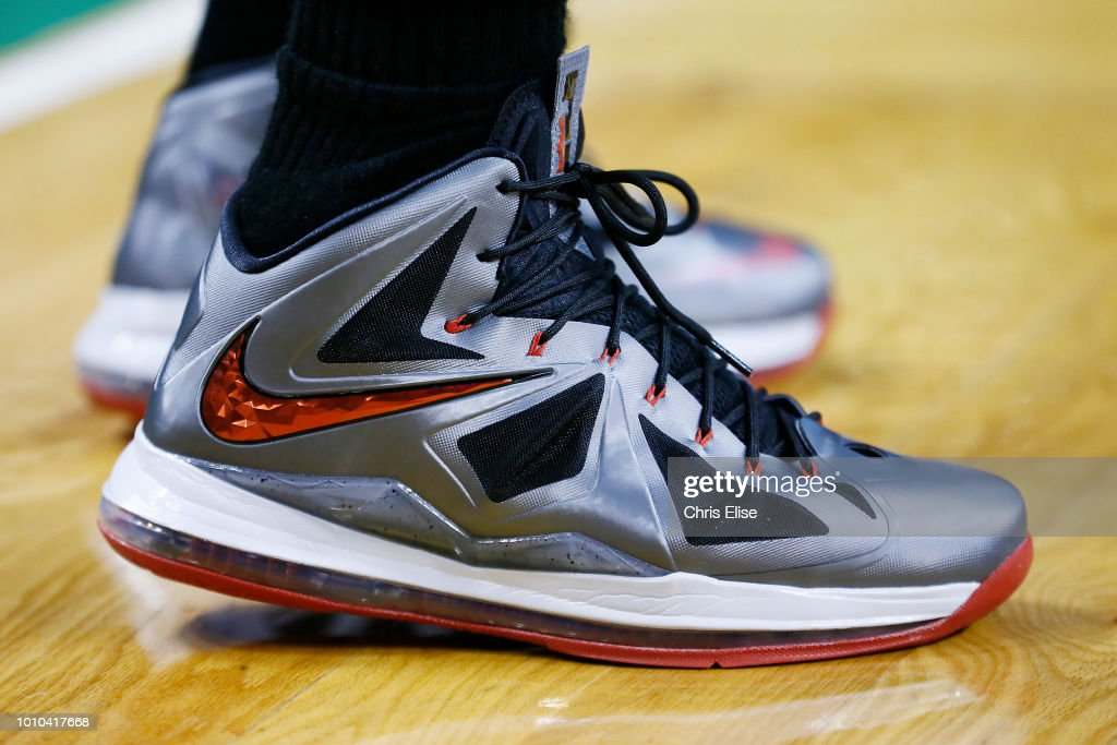 64f4221cd2ba9 The sneakers of Miami Heat small forward LeBron James as seen during ...