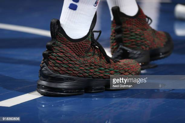 The sneakers of Michael Beasley of the New York Knicks are seen during the game against the Washington Wizards on February 14 2018 at Madison Square...