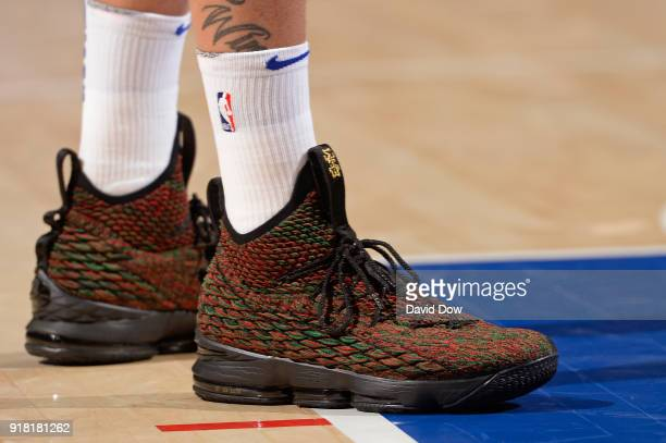 The sneakers of Michael Beasley of the New York Knicks during the game against the Philadelphia 76ers on February 12 2018 in Philadelphia...