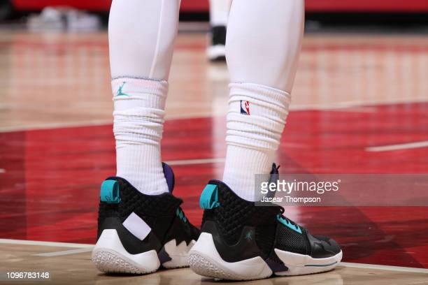 The sneakers of Michael KiddGilchrist of the Charlotte Hornets during the game against the Atlanta Hawks on February 9 2019 at State Farm Arena in...