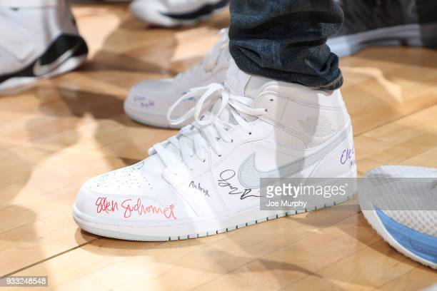 The sneakers of Mike Conley of the Memphis Grizzlies are seen before the game against the Denver Nuggets on March 17 2018 at FedExForum in Memphis...
