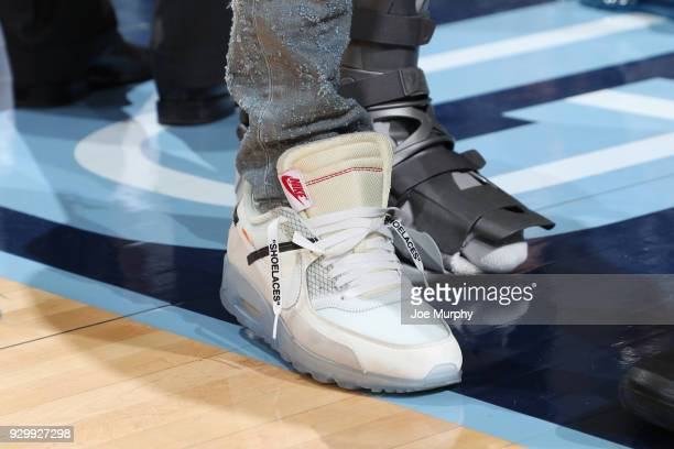 The sneakers of Mike Conley of the Memphis Grizzlies are seen during the game against the Utah Jazz on March 9 2018 at FedExForum in Memphis...