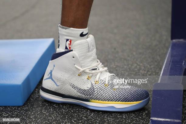 The sneakers of Mike Conley of the Memphis Grizzlies during his work out before the game on March 17 2018 at FedExForum in Memphis Tennessee NOTE TO...