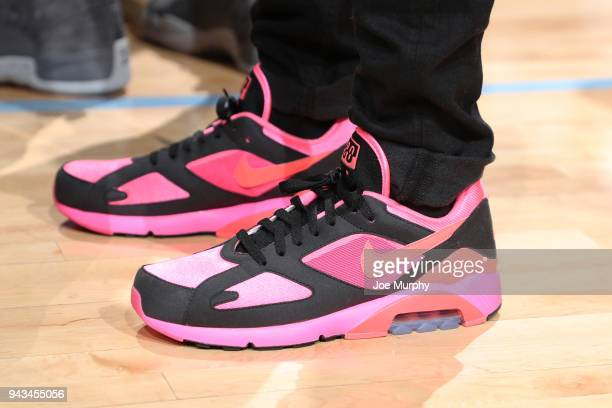 The sneakers of Mike Conley of the Memphis Grizzlies during the game against the Detroit Pistons on April 8 2018 at FedExForum in Memphis Tennessee...