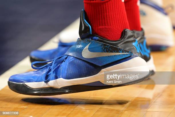 The sneakers of Mike Scott of the Washington Wizards during the game against the Charlotte Hornets on January 17 2018 at Spectrum Center in Charlotte...