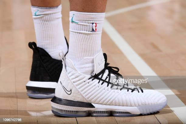 The sneakers of Miles Bridges of the Charlotte Hornets during the game against the Atlanta Hawks on February 9 2019 at State Farm Arena in Atlanta...