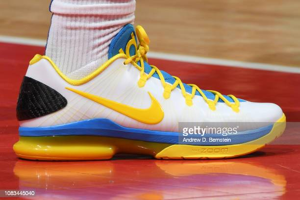 The sneakers of Montrezl Harrell of the LA Clippers are seen against the Utah Jazz on January 16 2019 at STAPLES Center in Los Angeles California...