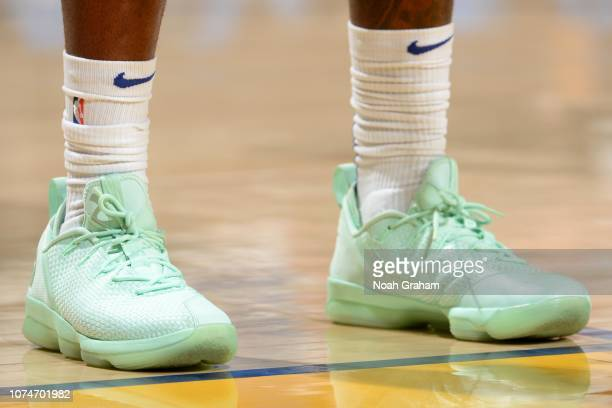 The sneakers of Montrezl Harrell of the LA Clippers are worn during a game against the Golden State Warriors on December 23 2018 at ORACLE Arena in...