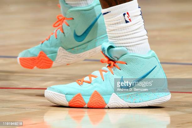 The sneakers of Montrezl Harrell of the LA Clippers are worn during a game against the New York Knicks on January 5 2020 at STAPLES Center in Los...