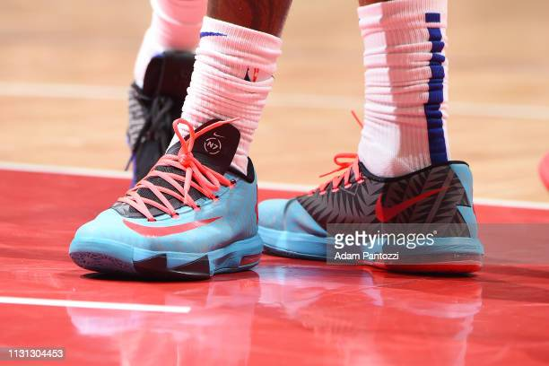The sneakers of Montrezl Harrell of the LA Clippers as seen during the game against the Brooklyn Nets on March 17 2019 at STAPLES Center in Los...