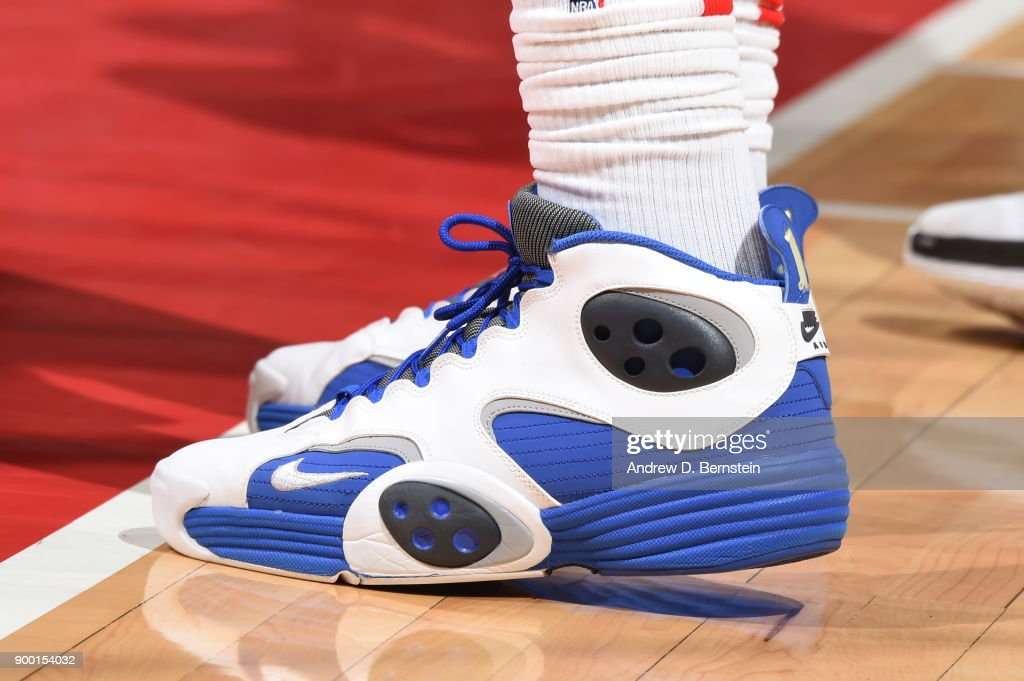 The sneakers of Montrezl Harrell #5 of the LA Clippers as seen during the game against the Charlotte Hornets on December 31, 2017 at STAPLES Center in Los Angeles, California.