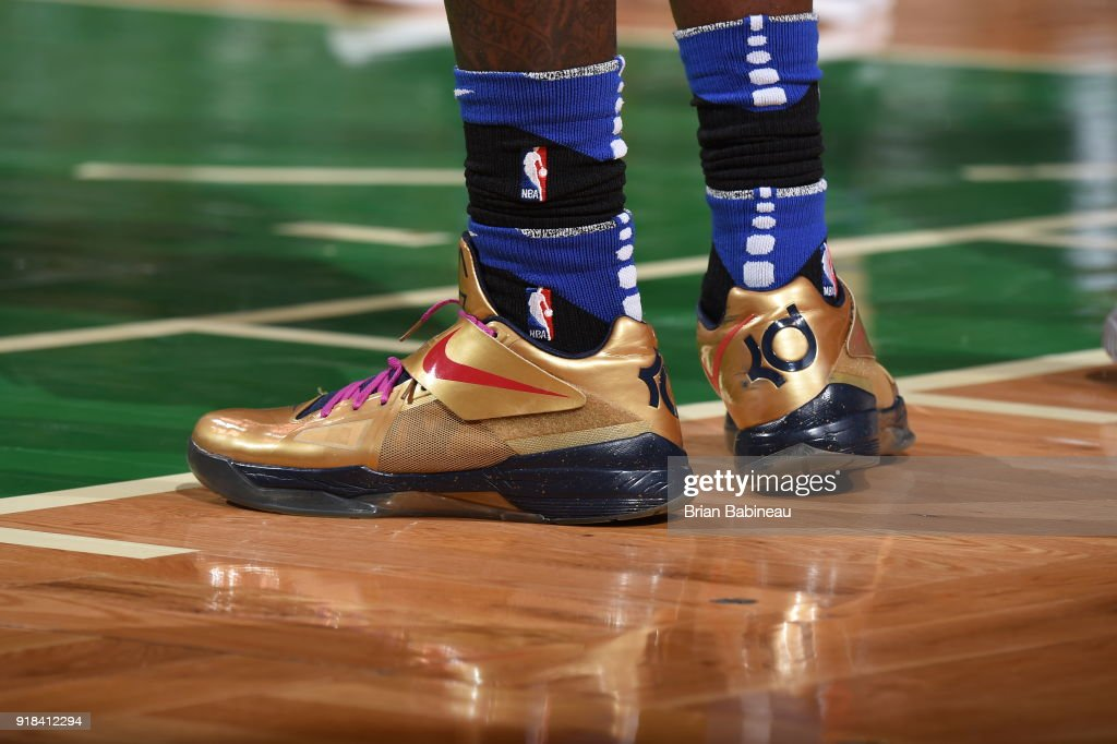 The sneakers of Montrezl Harrell #5 of the LA Clippers as seen during the game against the Boston Celtics on February 14, 2018 at the TD Garden in Boston, Massachusetts.