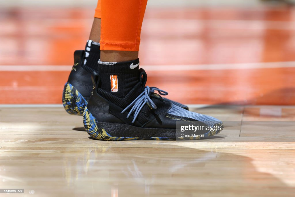 The sneakers of Morgan Tuck #33 of the Connecticut Sun before the game before the game against the New York Liberty on July 11, 2018 at the Mohegan Sun Arena in Uncasville, Connecticut.
