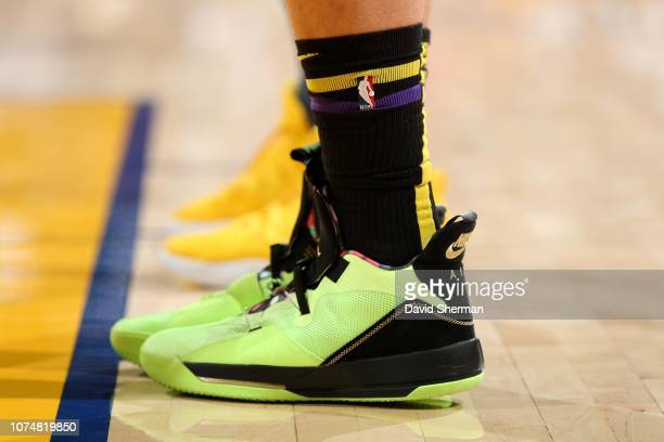 The sneakers of Moritz Wagner of the Los Angeles Lakers are worn during a game against the Golden State Warriors on December 25 2018 at ORACLE Arena...