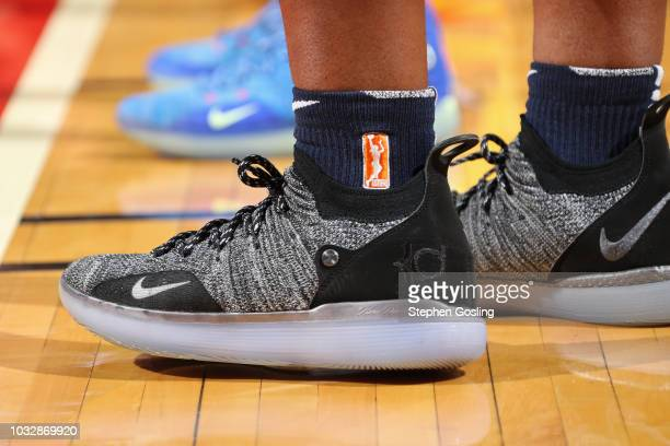 The sneakers of Myisha HinesAllen of the Washington Mystics during Game Three of the 2018 WNBA Finals against the Seattle Storm on September 12 2018...