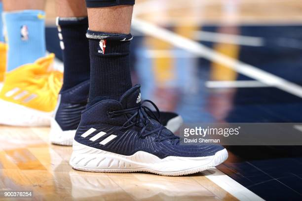 The sneakers of Nemanja Bjelica of the Minnesota Timberwolves are seen during the game against the Los Angeles Lakers on January 1 2018 at Target...