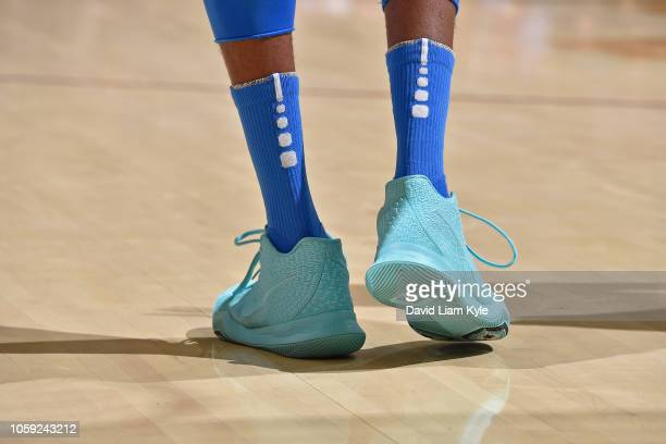 The sneakers of Nerlens Noel of the Oklahoma City Thunder during the game against the Cleveland Cavaliers on November 7 2018 at Quicken Loans Arena...
