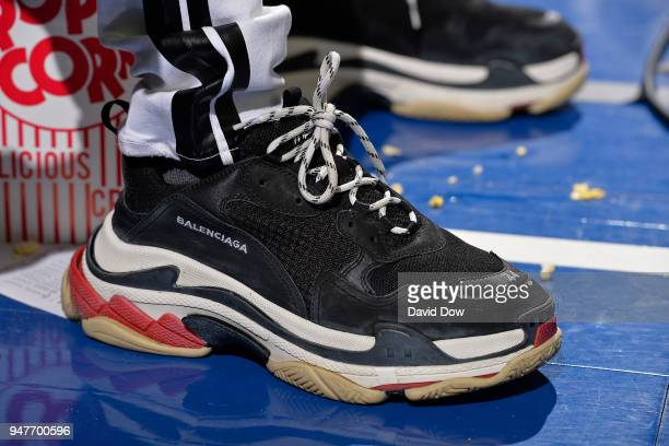The sneakers of NFL player Antonio Brown during Game Two of Round One of the 2018 NBA Playoffs between the Miami Heat and the Philadelphia 76ers on...