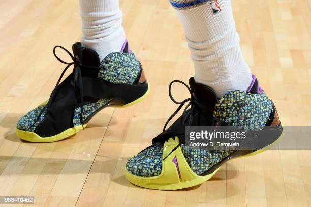 The sneakers of Nick Young of the Golden State Warriors are seen before the game against the Houston Rockets during Game Seven of the Western...