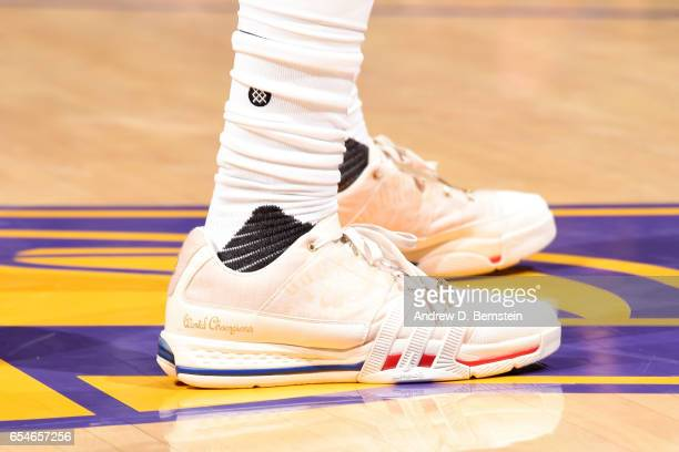 The sneakers of Nick Young of the Los Angeles Lakers are seen during the game against the Milwaukee Bucks on March 17 2017 at STAPLES Center in Los...