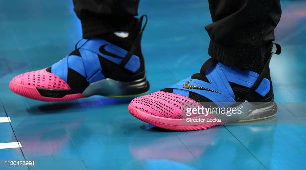 The sneakers of Nikola Vucevic of Team Giannis are seen before the game against Team LeBron during the NBA AllStar game as part of the 2019 NBA...