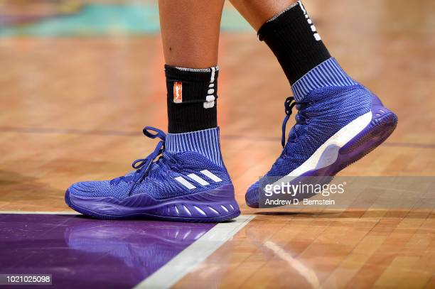 The sneakers of Nneka Ogwumike of the Los Angeles Sparks are seen during the game against the Minnesota Lynx in Round One of the 2018 WNBA Playoffs...